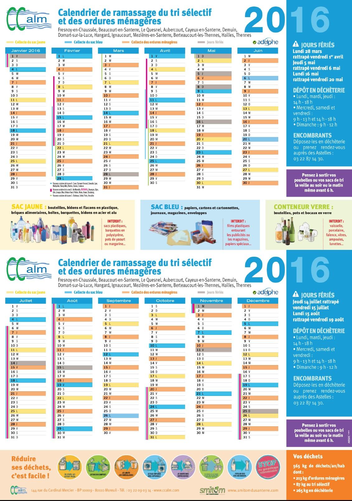 calendrier ordure 2016